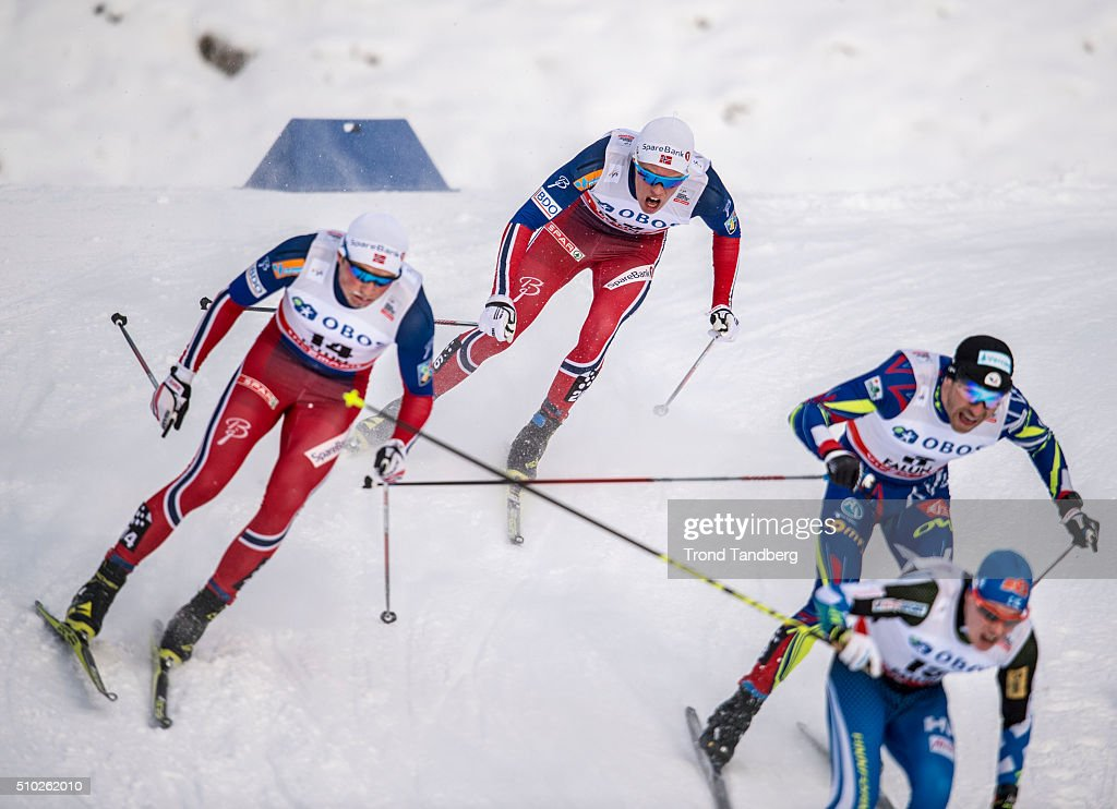 Martin Nyenget of Norway during Cross Country Men 15.0 km Mass Start Free on February 14, 2016 in Falun, Sweden.