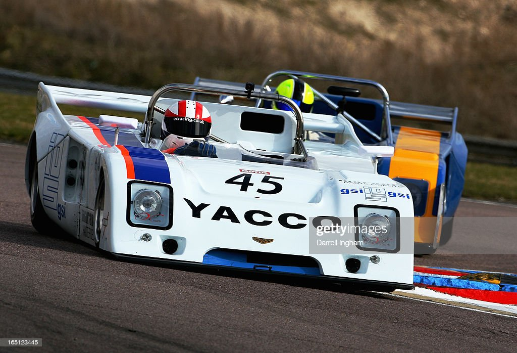 Martin O'Connell drives the #45 Chevron B36 ahead of Nick Fleming driving the #36 Chevron B36 during the Martini Trophy Sportscar race at the Historic Sports Car Club Thruxton Revival Meeting at the Thruxton Circuit on March 31, 2013 near Andover, United Kingdom.