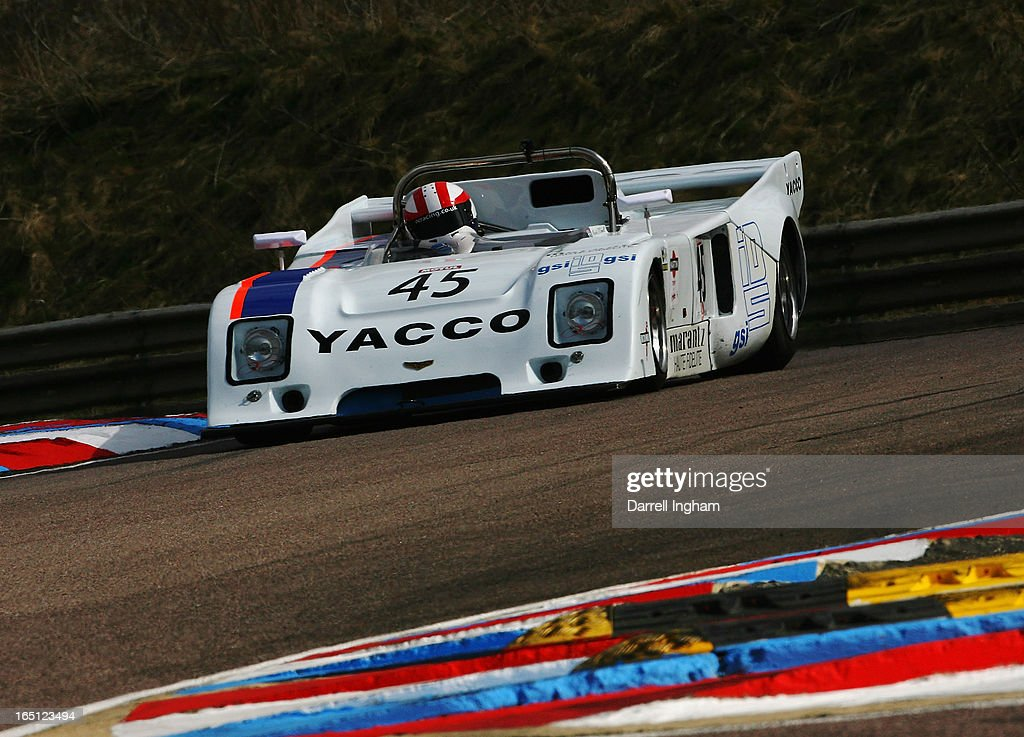 Martin O'Connell drives the #45 Chevron B36 during the Martini Trophy Sportscar race at the Historic Sports Car Club Thruxton Revival Meeting at the Thruxton Circuit on March 31, 2013 near Andover, United Kingdom.