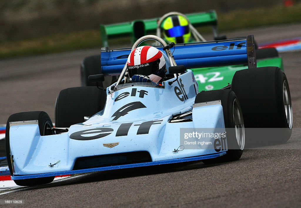 Martin O'Connell drives the ex Alain Prost #4 Chevron B40 during the Jochen Rindt Trophy Formula 2 race at the Historic Sports Car Club Thruxton Revival Meeting at the Thruxton Circuit on March 30, 2013 near Andover, United Kingdom.