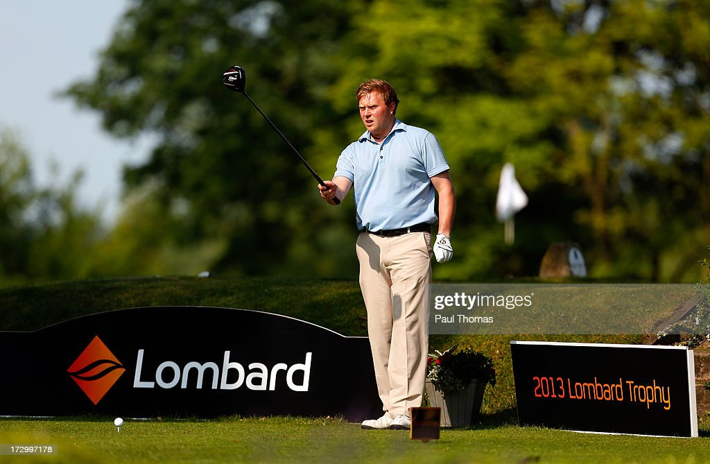 Martin O'Connor of Vicars Cross Golf Club lines up his tee shot on the 1st hole during the Lombard Trophy PGA National Pro-Am Championship Regional Final at Dunham Forest Golf and Country Golf Club on July 5, 2013 in Manchester, England.