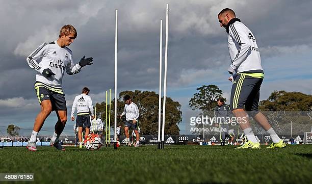 Martin Odegaard and Karim Benzema of Real Madrid during a Real Madrid training session on July 16 2015 in Melbourne Australia