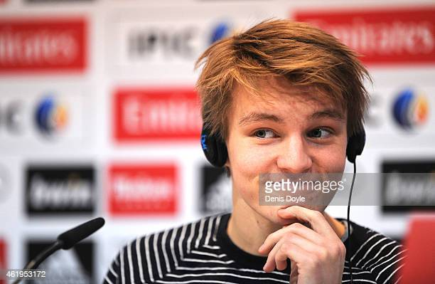 Martin Odegaard from Norway ponders a question during his press conference at Real Madrid's Valdebebas training grounds after he signed with Real on...