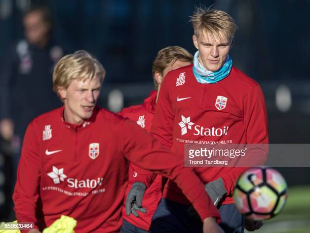Martin Odegaard Morten Thorsby of Norway during training at Marienlyst Stadion on October 9 2017 in Drammen Norway