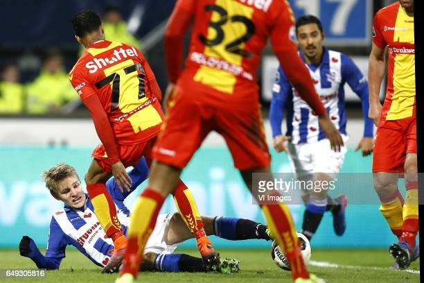 Martin Odegaard of Heerenveen Jarchinio Antonia of Go Ahead Eaglesduring the Dutch Eredivisie match between sc Heerenveen and Go Ahead Eagles at Abe...