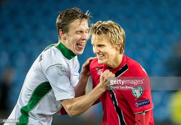 Martin Odegaard of Norway Andrej Galabinov of Bulgaria during the UEFA EURO 2016 qualifier match between Norway and Bulgaria at Ullevaal Stadion on...