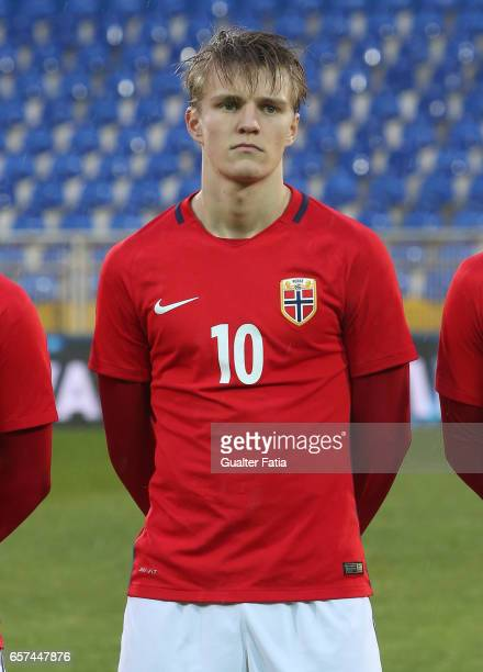 Martin Odegaard of Norway before the start of the U21 International Friendly match between Portugal and Norway at Estadio Antonio Coimbra da Mota on...