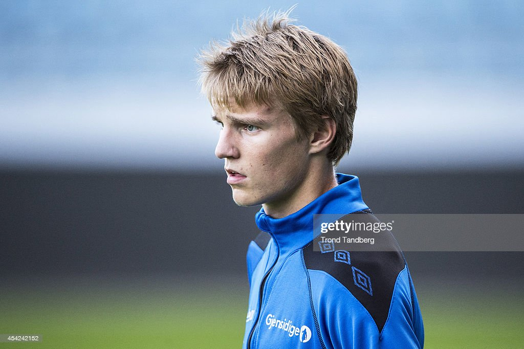 Martin Odegaard of Norway during a training session at the Viking Stadion on August 26, 2014 in Stavanger, Norway. The 15 year old is set to become Norway's youngest ever international.