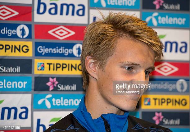 Martin Odegaard of Norway during the press conference at the Viking Stadion on August 26 2014 in Stavanger Norway The 15 year old is set to become...