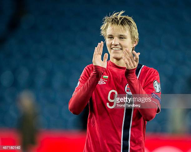 Martin Odegaard of Norway during the UEFA EURO 2016 qualifier match between Norway and Bulgaria at Ullevaal Stadion on October 13 2014 in Oslo Norway