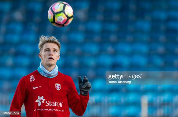 Martin Odegaard of Norway during training at Marienlyst Stadion on October 9 2017 in Drammen Norway