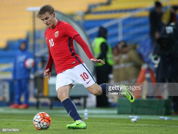 Martin Odegaard of Norway in action during the U21 International Friendly match between Portugal and Norway at Estadio Antonio Coimbra da Mota on...