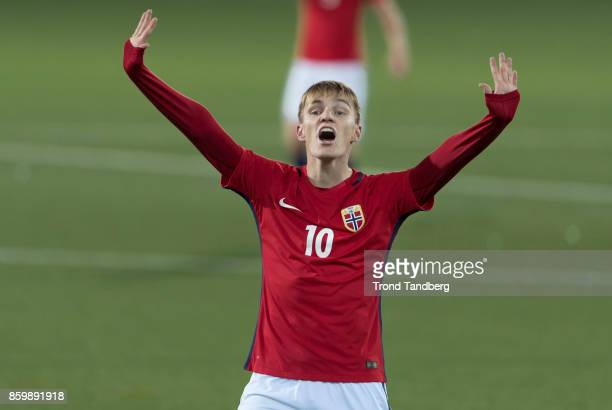 Martin Odegaard of Norway reacts during the U21 FIFA 2018 World Cup Qualifier between Norway and Germany at Marienlyst Stadion on October 10 2017 in...