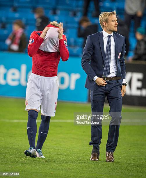 Martin Odegaard of Norway with shirt over the head and Captain Per Ciljan Skjelbred of Norway after the EURO 2016 Qualifier between Norway and Malta...