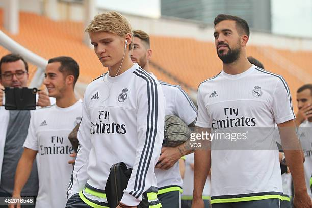 Martin Odegaard of Real Madrid arrives at Tianhe Sports Center prior to a training session ahead of the International Champions Cup football match...