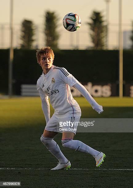 Martin Odegaard of Real Madrid Castilla in action during the Segunda Division B match between Real Madrid Castilla and Athletic Club B at Estadio...
