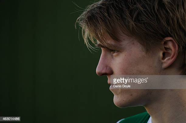 Martin Odegaard of Real Madrid Castilla looks on while warming up during the Segunda Division B match between Real Madrid Castilla and Athletic Club...