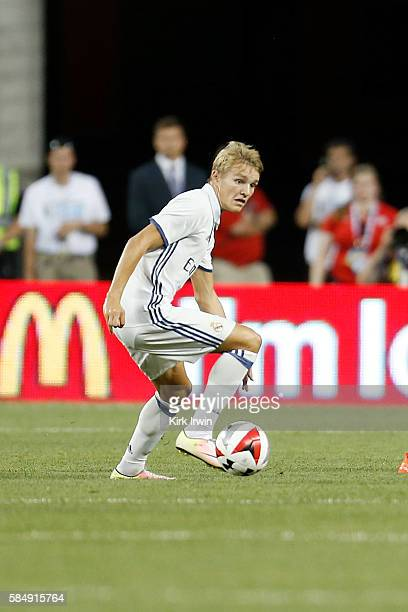 Martin Odegaard of Real Madrid CF controls the ball during the game against Paris SaintGermain FC on July 27 2016 at Ohio Stadium in Columbus Ohio...