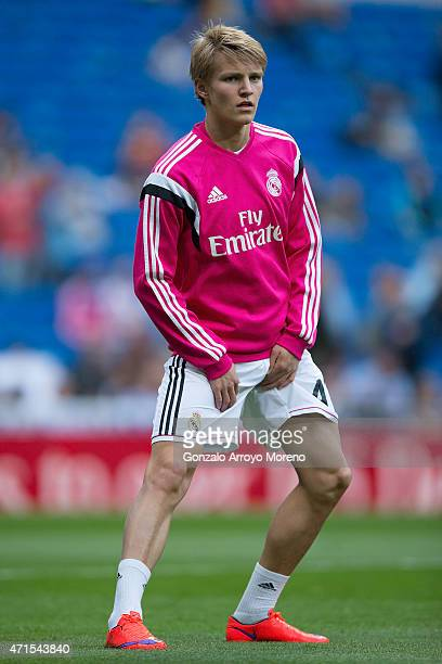 Martin Odegaard of Real Madrid CF excersises during his warming up before the La Liga match between Real Madrid CF and UD Almeria at Estadio Santiago...