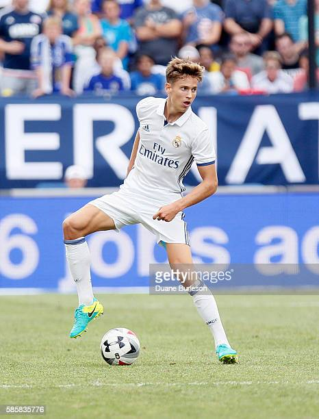 Martin Odegaard of Real Madrid looks for a shot against Chelsea at Michigan Stadium on July 30 2016 in Ann Arbor Michigan