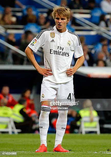 Martin Odegaard of Real Madrid looks on during the La Liga match between Real Madrid CF and Getafe CF at Estadio Santiago Bernabeu on May 23 2015 in...