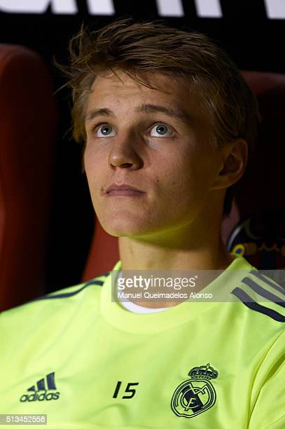 Martin Odegaard of Real Madrid looks on prior to the La Liga match between Levante UD and Real Madrid at Ciutat de Valencia on March 02 2016 in...