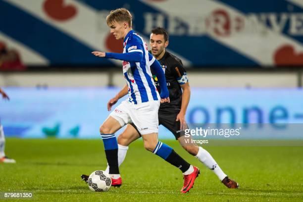 Martin Odegaard of sc Heerenveen Bram van Polen of PEC Zwolle during the Dutch Eredivisie match between sc Heerenveen and PEC Zwolle at Abe Lenstra...