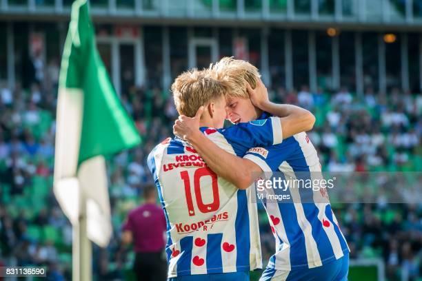 Martin Odegaard of sc Heerenveen Morten Thorsby of sc Heerenveen during the Dutch Eredivisie match between FC Groningen and sc Heerenveen at...