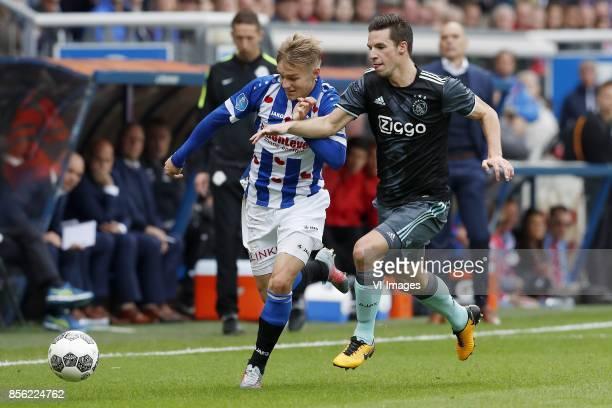 Martin Odegaard of sc Heerenveen Nick Viergever of Ajax during the Dutch Eredivisie match between sc Heerenveen and Ajax Amsterdam at Abe Lenstra...