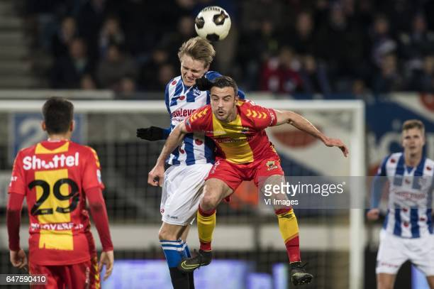 Martin Odegaard of SC Heerenveen Sebastien Locigno of Go Ahead Eaglesduring the Dutch Eredivisie match between sc Heerenveen and Go Ahead Eagles at...