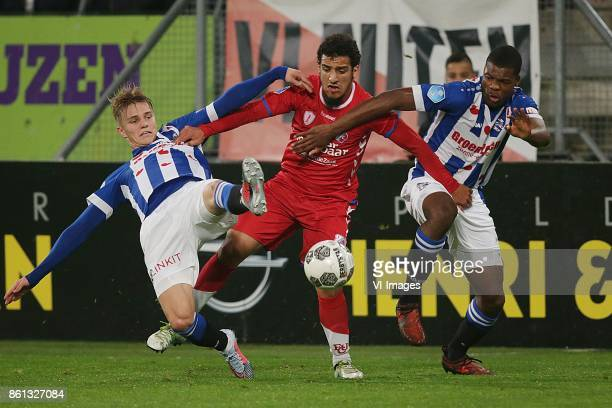 Martin Odegaard of sc Heerenveen Yassin Ayoub of FC Utrecht Denzel Dumfries of sc Heerenveen during the Dutch Eredivisie match between FC Utrecht and...
