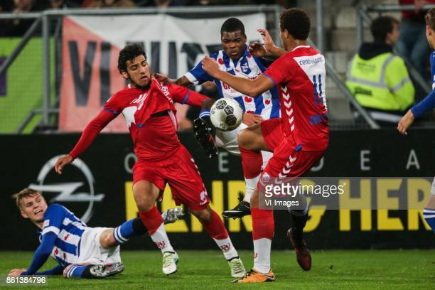 Martin Odegaard of sc Heerenveen Yassin Ayoub of FC Utrecht Denzel Dumfries of sc Heerenveen Cyriel Dessers of FC Utrecht during the Dutch Eredivisie...