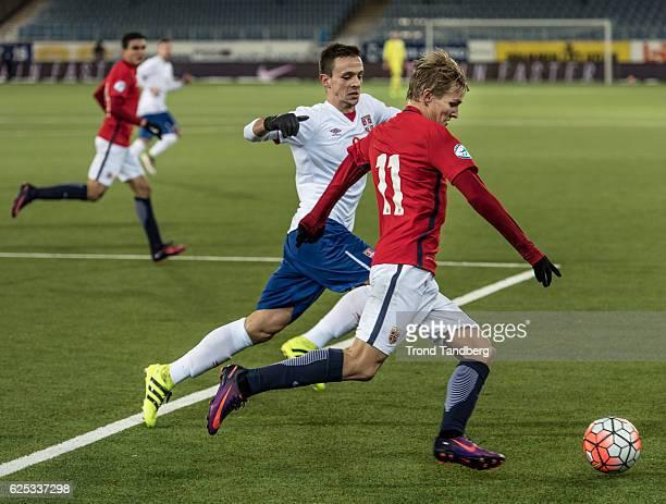 Martin Oedegaard of Norway during U21UEFA European Championship PlayOff Norway v Serbia at Marienlyst Stadion on November 15 2016 in Drammen Norway