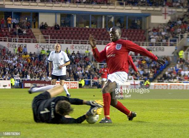 Martin Offiah Bodo Illgner Take Part In The England V Germany The Legends Charity Football Match At The Madejski Stadium In Reading