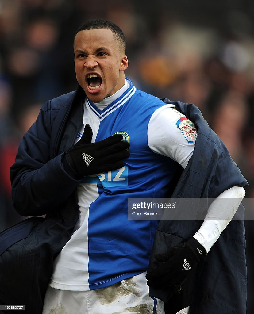 <a gi-track='captionPersonalityLinkClicked' href=/galleries/search?phrase=Martin+Olsson&family=editorial&specificpeople=4185617 ng-click='$event.stopPropagation()'>Martin Olsson</a> of Blackburn Rovers celebrates the equaliser during the npower Championship match between Blackburn Rovers and Burnley at Ewood park on March 17, 2013 in Blackburn, England.