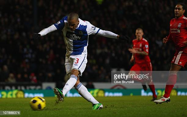 Martin Olsson of Blackburn Rovers scores the first goal during the Barclays Premier League match between Blackburn Rovers and Liverpool at Ewood park...