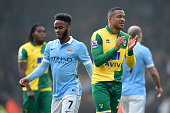 Martin Olsson of Norwich City applauds while Raheem Sterling of Manchester City shows his frustration after the scoreless draw in the Barclays...