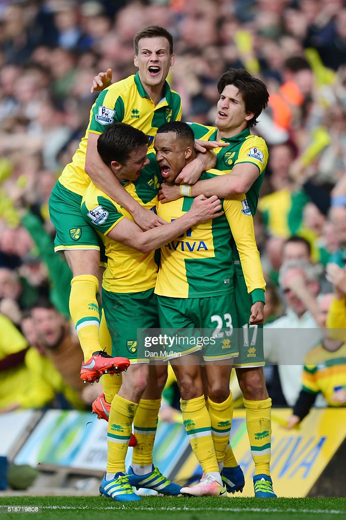 <a gi-track='captionPersonalityLinkClicked' href=/galleries/search?phrase=Martin+Olsson&family=editorial&specificpeople=4185617 ng-click='$event.stopPropagation()'>Martin Olsson</a> (2nd R) of Norwich City celebrates scoring his team's third goal with his team mates during the Barclays Premier League match between Norwich City and Newcastle United at Carrow Road on April 2, 2016 in Norwich, England.