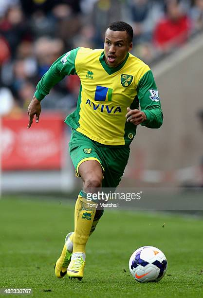 Martin Olsson of Norwich City during the Barclays Premier League match between Swansea City and Norwich City at Liberty Stadium on March 29 2014 in...