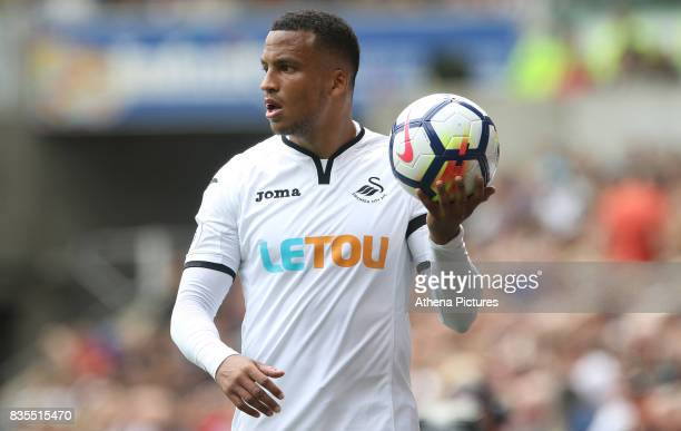 Martin Olsson of Swansea City during the Premier League match between Swansea City and Manchester United at The Liberty Stadium on August 19 2017 in...