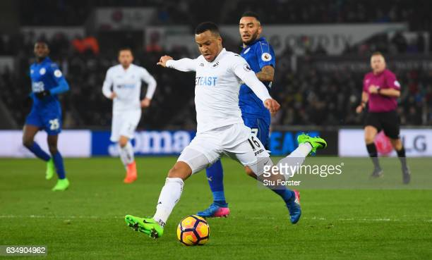 Martin Olsson of Swansea City scores their second goal during the Premier League match between Swansea City and Leicester City at Liberty Stadium on...
