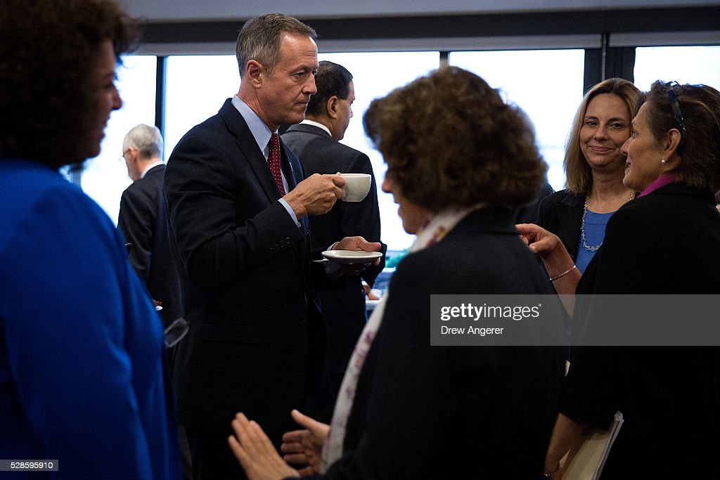 <a gi-track='captionPersonalityLinkClicked' href=/galleries/search?phrase=Martin+O%27Malley&family=editorial&specificpeople=653318 ng-click='$event.stopPropagation()'>Martin O'Malley</a> (D-MD), former Maryland governor and former 2016 presidential hopeful, mingles with guests before the start of a panel discussion at the National Press Club, May 6, 2016, in Washington, DC. The panel, titled 'Words Matter: the U.S. Debate over Immigration, the Media, and the 2016 Election,' was organized by the American Bar Association.