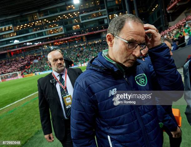 Martin O'Neill head coach of Republic of Ireland walks on to the pitch prior to the FIFA 2018 World Cup Qualifier PlayOff First Leg match between...