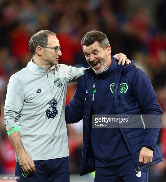 Martin O'Neill manager of Republic of Ireland and Roy Keane celebrates during FIFA World Cup group qualifier match between Wales and Republic of...