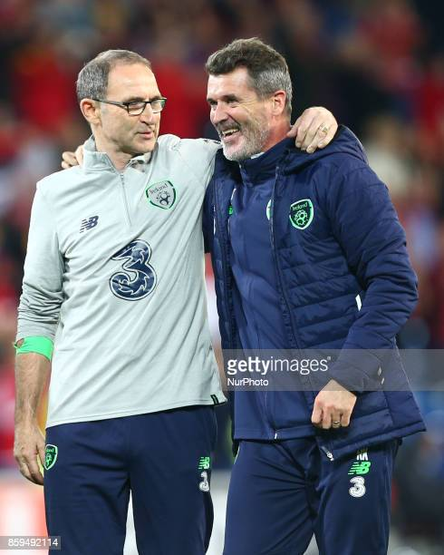 Martin O'Neill manager of Republic of Ireland and Roy Keane celebratees during World Cup Qualifying European Group D match between Wales against...