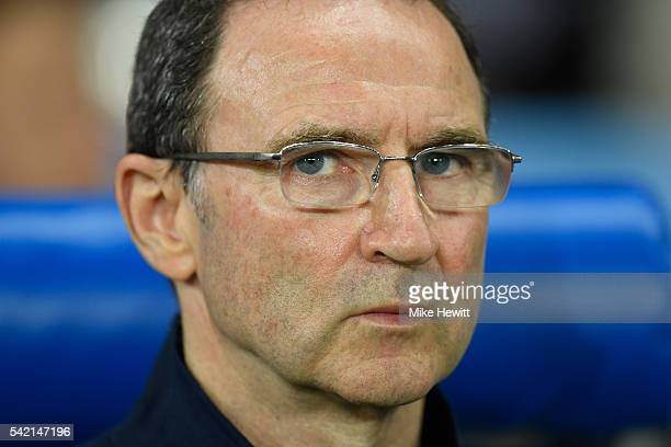 Martin O'Neill manager of Republic of Ireland looks on prior to the UEFA EURO 2016 Group E match between Italy and Republic of Ireland at Stade...