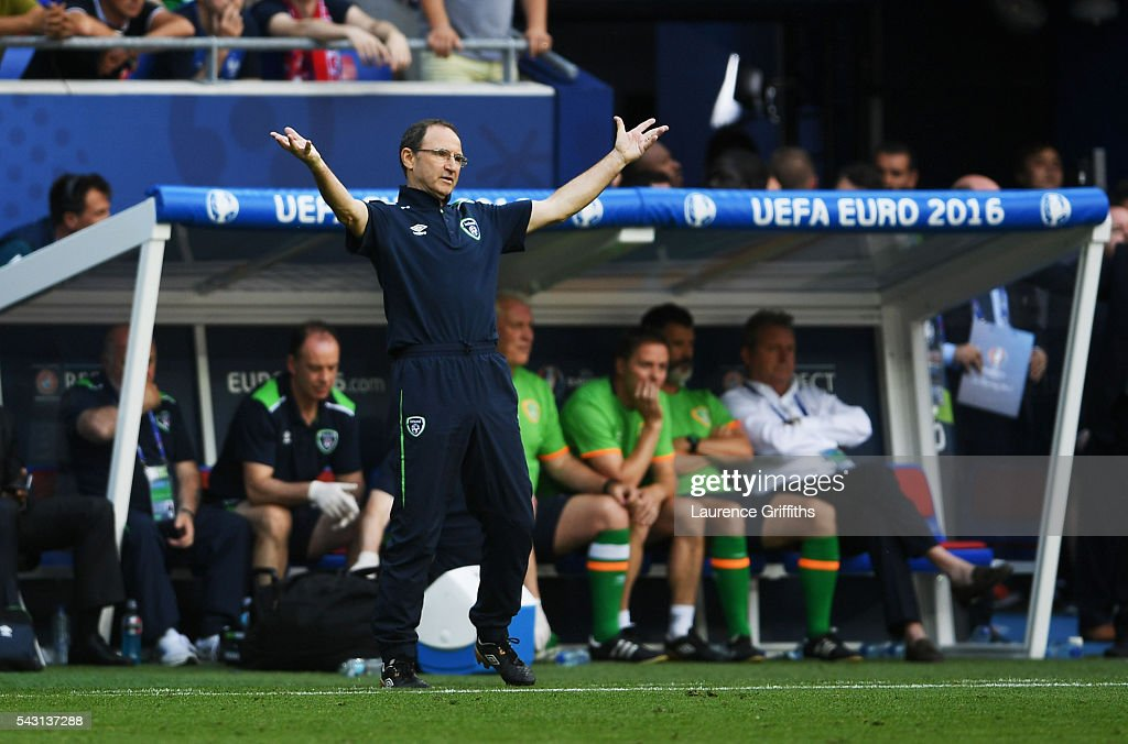 <a gi-track='captionPersonalityLinkClicked' href=/galleries/search?phrase=Martin+O%27Neill&family=editorial&specificpeople=201190 ng-click='$event.stopPropagation()'>Martin O'Neill</a> manager of Republic of Ireland reacts during the UEFA EURO 2016 round of 16 match between France and Republic of Ireland at Stade des Lumieres on June 26, 2016 in Lyon, France.