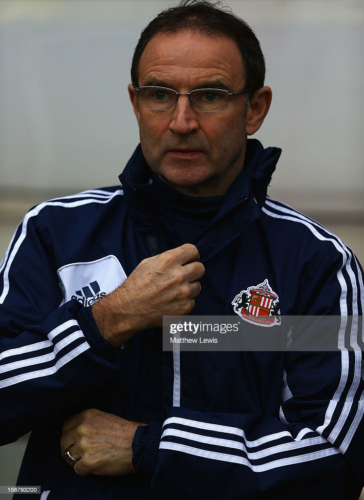 Martin O'Neill, manager of Sunderland looks on during the Barclays Premier League match between Sunderland and Tottenham Hotspur at Stadium of Light on December 29, 2012 in Sunderland, England.