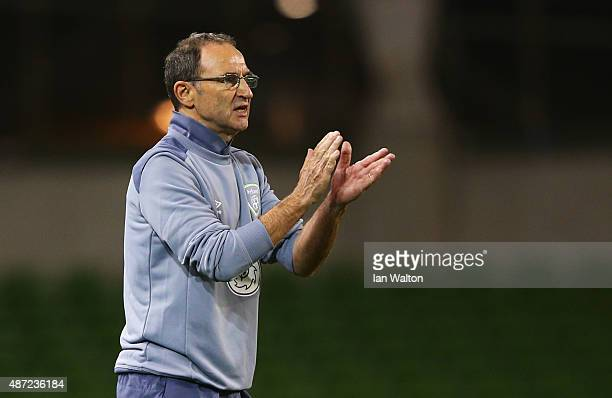 Martin O'Neill manager of the Republic of Ireland applauds during the UEFA EURO 2016 Group D qualifying match between Republic of Ireland and Georgia...