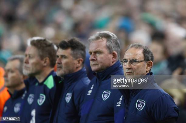 Martin O'Neill manager of the Republic of Ireland Steve Walford coach of the Republic of Ireland and Roy Keane assistant manager of the Republic of...